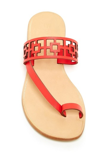 Trina Turk Square Tile Geometric Leather Thong Cherry Red Sandals Image 2
