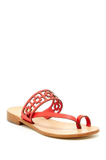 Trina Turk Square Tile Geometric Leather Thong Cherry Red Sandals Image 3