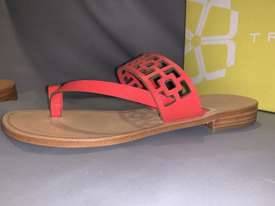 Trina Turk Square Tile Geometric Leather Thong Cherry Red Sandals Image 4