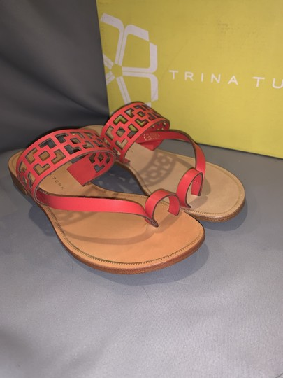 Trina Turk Square Tile Geometric Leather Thong Cherry Red Sandals Image 5