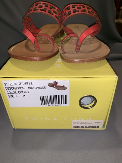Trina Turk Square Tile Geometric Leather Thong Cherry Red Sandals Image 6