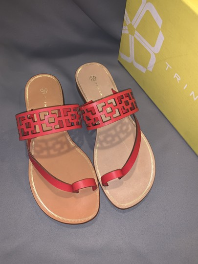 Trina Turk Square Tile Geometric Leather Thong Cherry Red Sandals Image 7