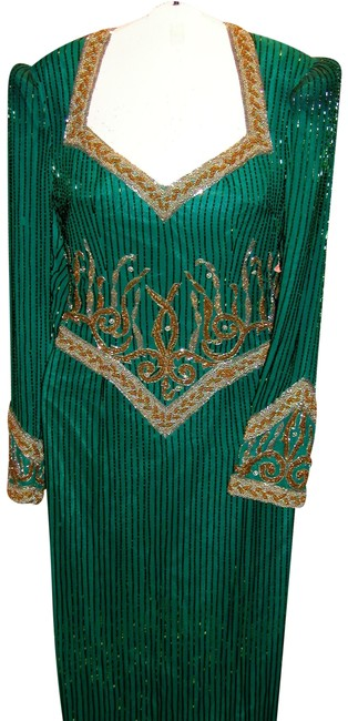Item - Green/Gold W Elaborate Royal Tailored Trim W/Ultra Low Open Back Long Formal Dress Size 14 (L)