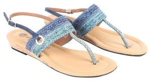 Eric Michael Woven Braided Cork T-strap Gold Blue Multi Sandals