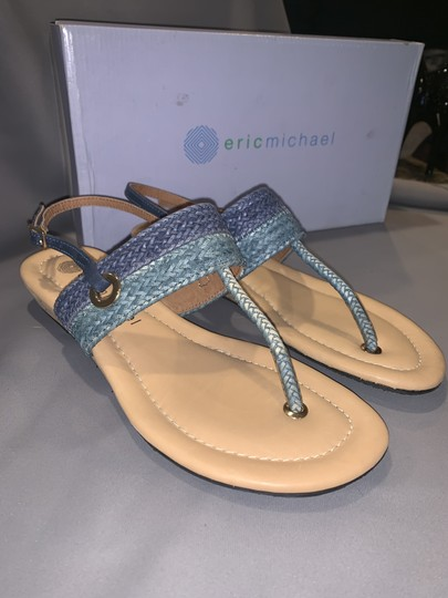 Eric Michael Woven Braided Cork T-strap Gold Blue Multi Sandals Image 1
