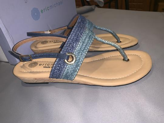 Eric Michael Woven Braided Cork T-strap Gold Blue Multi Sandals Image 3