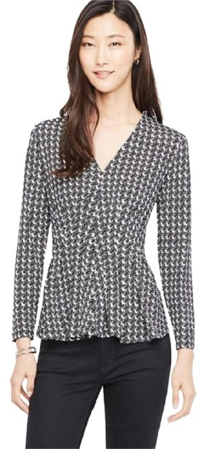Ann Taylor Tulip Pleated Flare Black/White Sweater Ann Taylor Tulip Pleated Flare Black/White Sweater Image 1
