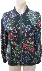 Cynthia Rowley Bomber Floral Rayon Size Small Zip Up Front Black Jacket