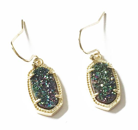 Kendra Scott Gold Lee Drop Multi Color Drusy Earrings Image 1