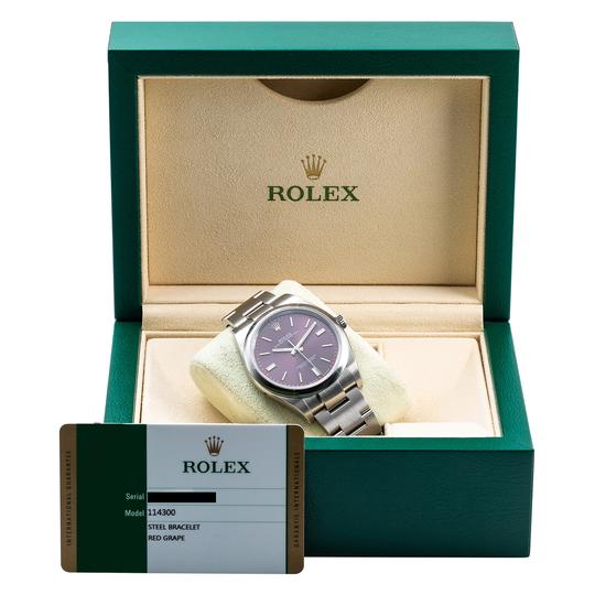 Preload https://img-static.tradesy.com/item/24874297/rolex-stainless-steel-and-purple-dial-oyster-perpetual-114300-39mm-red-grape-watch-0-1-540-540.jpg
