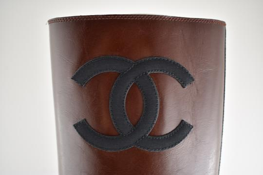 Chanel Tweed Glitter Quilted Chain burgundy Boots Image 3