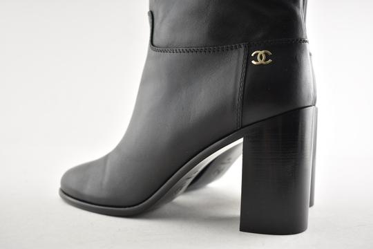 Chanel Tweed Glitter Quilted Chain black Boots Image 7