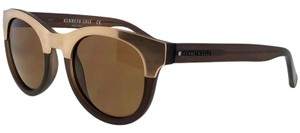 Kenneth Cole KC7211-59E-52 Round Women's Beige Frame Brown Lens Sunglasses