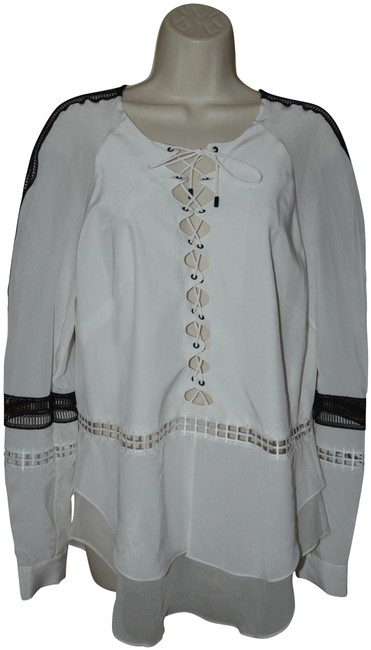 Jonathan Simkhai White Black Trim Long Sleeve Blouse Size 8 (M) Jonathan Simkhai White Black Trim Long Sleeve Blouse Size 8 (M) Image 1