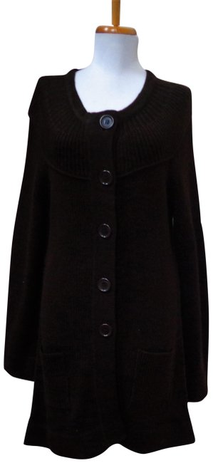 Item - Acrylic Wool Thick Knitted Long Round Neck Bell Sleeve Sweater/Coat Brown Sweater
