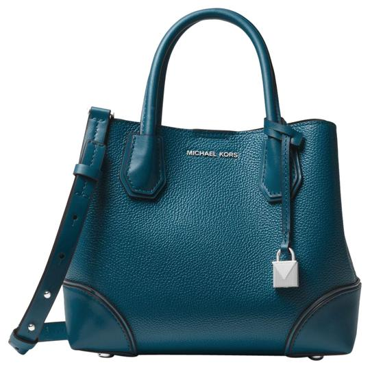 michael kors mercer gallery small pebbled teal blue green gold leather satchel tradesy. Black Bedroom Furniture Sets. Home Design Ideas