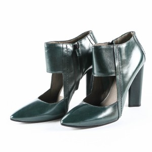 CoSTUME NATIONAL Zipper Leather Cut-out Pointed Toe Forest Green Boots