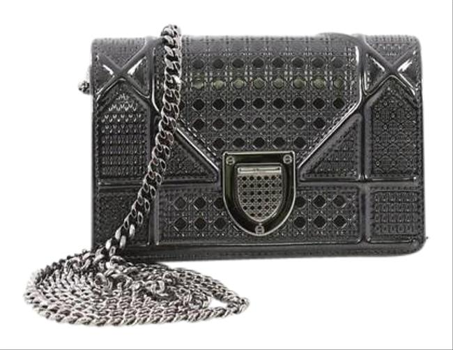 Item - Flap ama Cannage Embossed Baby Silver Calfskin Cross Body Bag