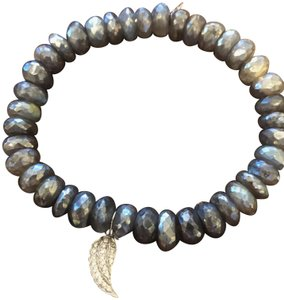 Sydney Evan Sydney Evan Labradorite Beaded Bracelet with Diamond Wing Charm