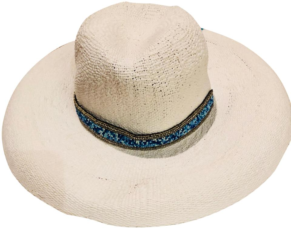 2d64f15c42f ale by alessandra White   Turquoise Wide Brim Straw Hat - Tradesy