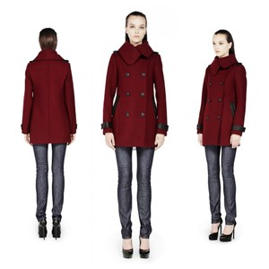 Mackage Wool Patricia Wool Leather Accents Daphne Browell Pea Coat
