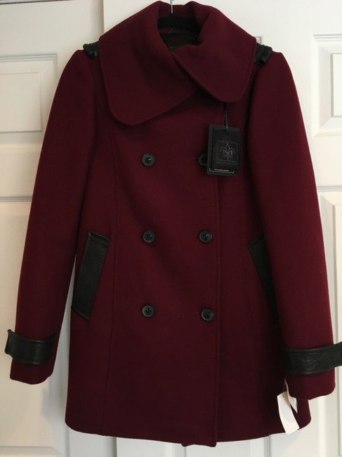 Mackage Wool Patricia Wool Leather Accents Daphne Browell Pea Coat Image 1