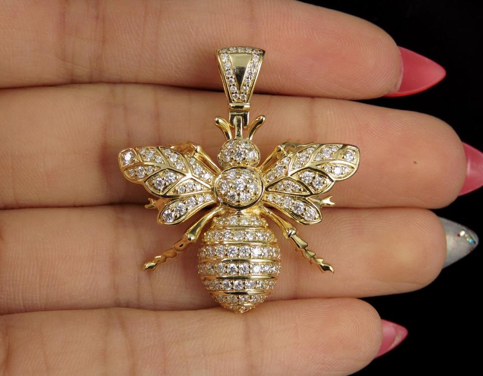e1aa159ffda8c Jewelry Unlimited 14k Yellow Gold Real Diamond Gg Bee Pendant 1.35 Ct 1.5
