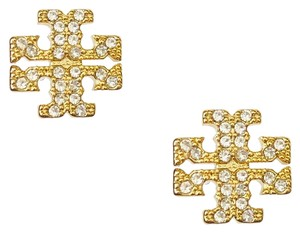 Tory Burch Brand New Tory Burch Crystal Pave GOLD Small T-Logo Stud Earrings