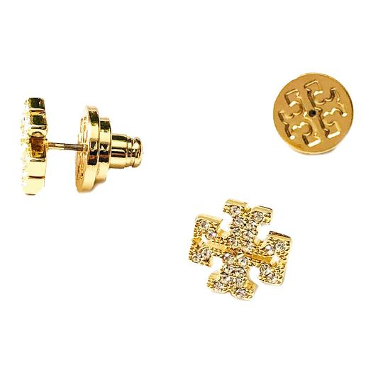 Tory Burch Brand New Tory Burch Crystal Pave GOLD Small T-Logo Stud Earrings Image 1