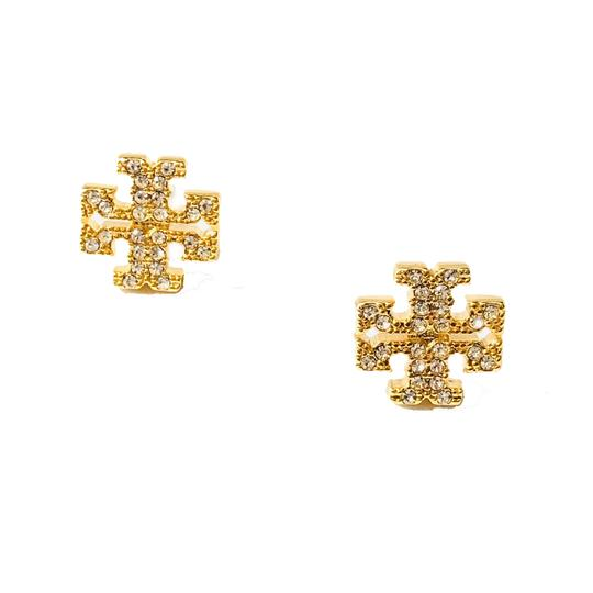 Tory Burch Brand New Tory Burch Crystal Pave GOLD Small T-Logo Stud Earrings Image 2