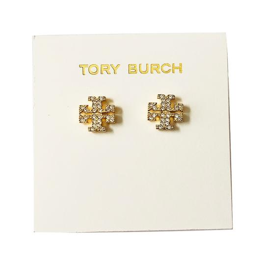 Tory Burch Brand New Tory Burch Crystal Pave GOLD Small T-Logo Stud Earrings Image 4