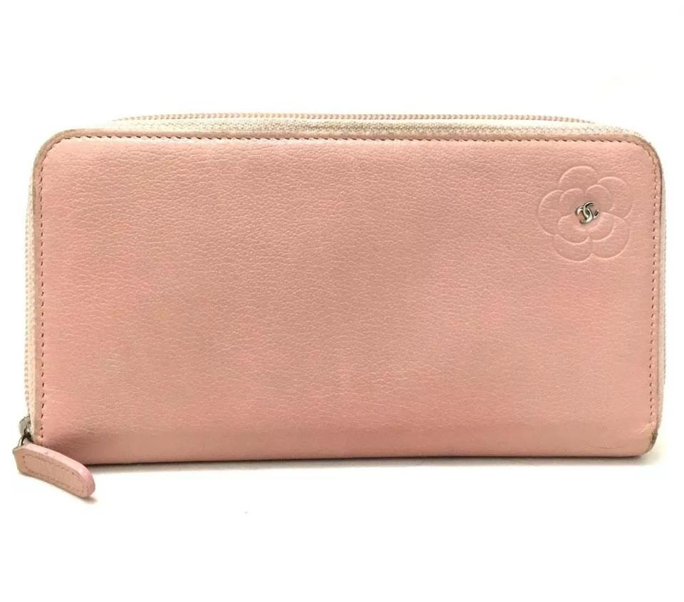85c8f8bb195f Chanel Camellia CC Logo Pink Leather Zip Around Long Wallet Image 0 ...