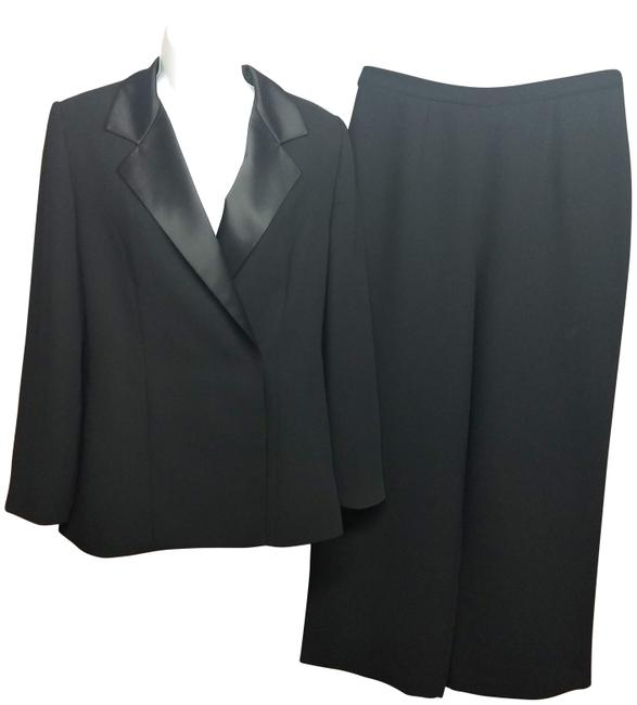 Item - Black Satin Trim Evening Tuxedo 8p Pant Suit Size Petite 8 (M)
