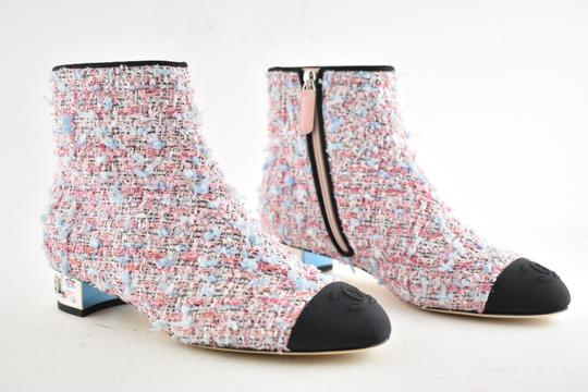 Chanel Tweed Glitter Quilted Chain pink Boots
