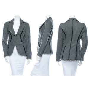 Illia Houndstooth Deconstructed Riding Jacket Daphne Browell Grey Blazer
