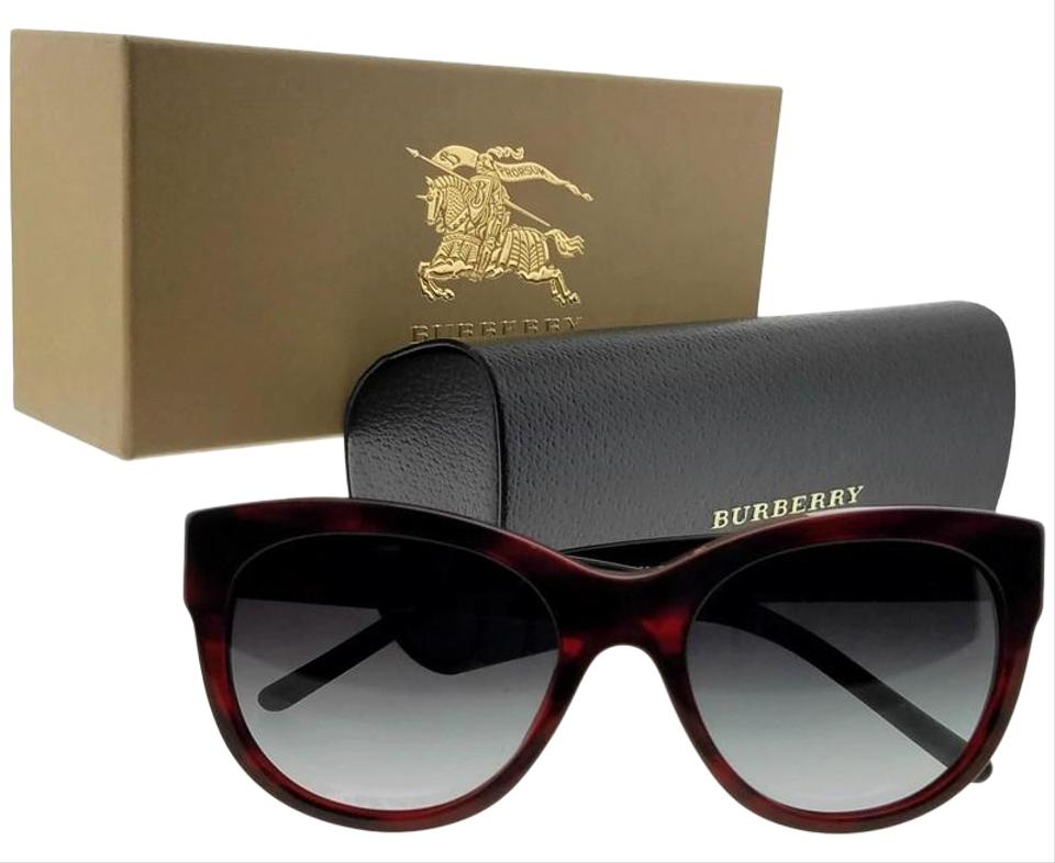 641131b7ee2 Burberry BE4156-33228G-53 Oval Women s Red Frame Grey Lens Genuine  Sunglasses Image 0 ...