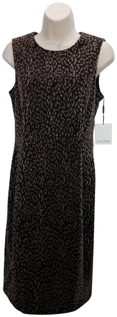 Preload https://img-static.tradesy.com/item/24875486/calvin-klein-black-animal-print-shimmer-mid-length-formal-dress-size-8-m-0-2-650-650.jpg