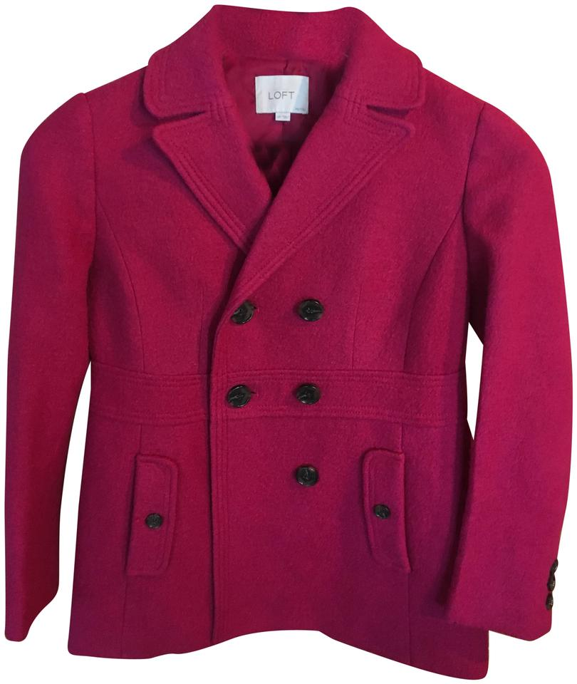 c666102e61d Ann Taylor LOFT Pink Double Breasted Wool Jacket Coat. Size  Petite 6 ...
