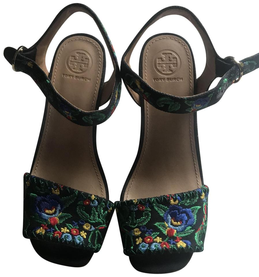 16b41de70db1 Tory Burch Embroidered Sonoma 120mm Sandal Navy Multi Green Wedges ...
