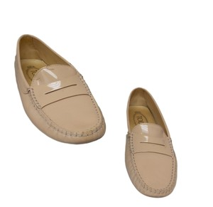 Tod's Luxury Fascinante Patent Leather Nice Studded Beige Flats