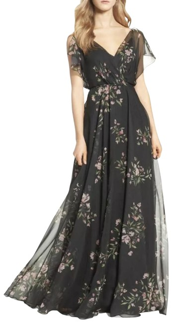 Item - Black/Cinnamon Rose Cassie Flutter Sleeve Chiffon A-line Bridesmaids Gown Long Formal Dress Size 6 (S)