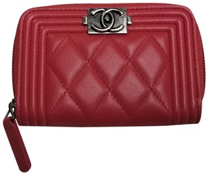 Chanel Boy Zip Around Leather Wallet