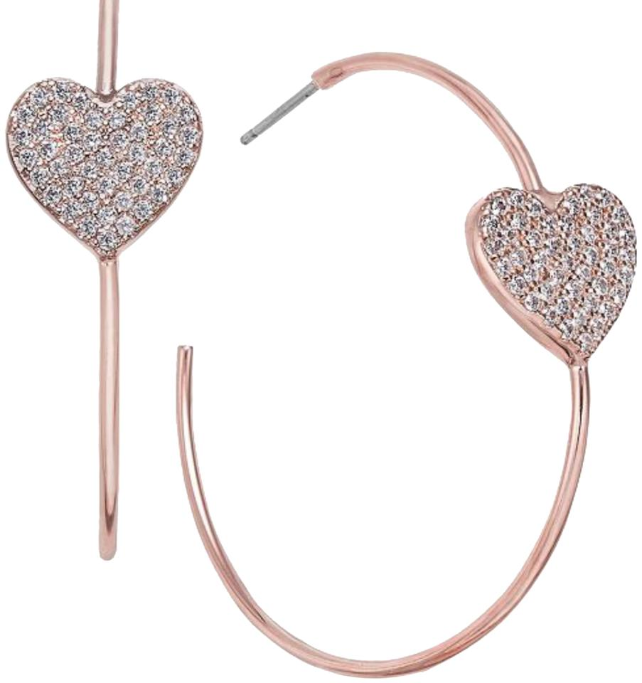 e8236ebbd Kate Spade Rose Gold Yours Truly Pave Heart Hoop Earrings - Tradesy