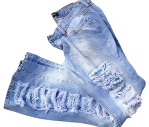 Iceberg Ripped Distressed Flare Leg Jeans-Distressed