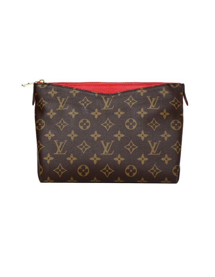 ceee88f4d5e Louis Vuitton Brown/Red Beauty Case Clutch Pallas '17 Monogram Cerise  Leather Cosmetic Bag