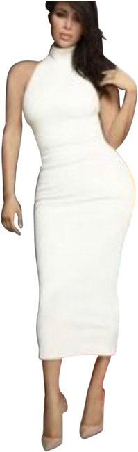 Item - White Midi High Neck Sleeveless Ivory Fitted Mid-length Casual Maxi Dress Size 8 (M)