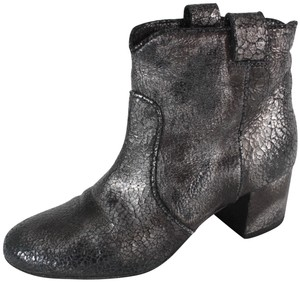Laurence Dacade Ankle Metallic Cracked Leather Gray, Silver Boots