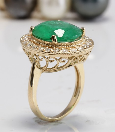 Other 5.35CT Natural Emerald and Diamonds in 14K Solid White Gold Ring Image 3