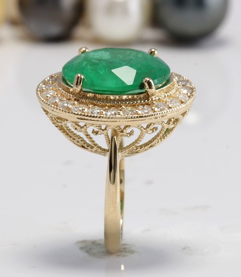 Other 5.35CT Natural Emerald and Diamonds in 14K Solid White Gold Ring Image 4