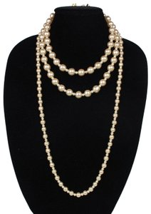 Chanel Rare Vintage Pearl Necklace Triple Strand Cream White Gold Clasp C